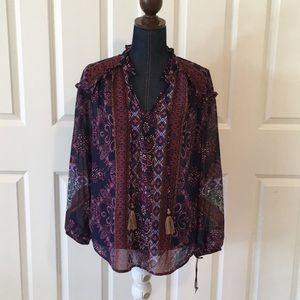 Knox Rose womens sheer peasant boho top blue NWT